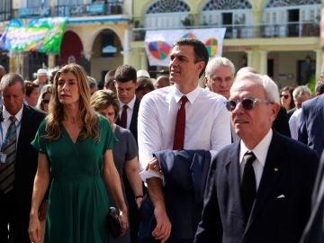 El presidente del Gobierno de España, Pedro Sánchez y su esposa María Begoña Gómez en su visita a Cuba