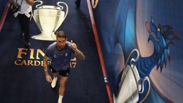 Sergio Ramos, en el túnel de vestuarios del Millennium Stadium de Cardiff