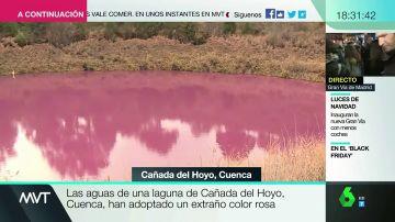 Un otoño entre colores vivos: una laguna de Cañada del Hoyo amanece de color rosa, y te explicamos por qué