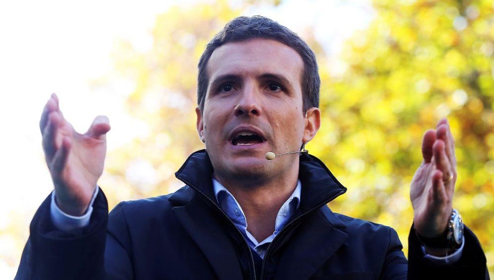 Pablo Casado durante un acto de la campaña electoral en Andalcía