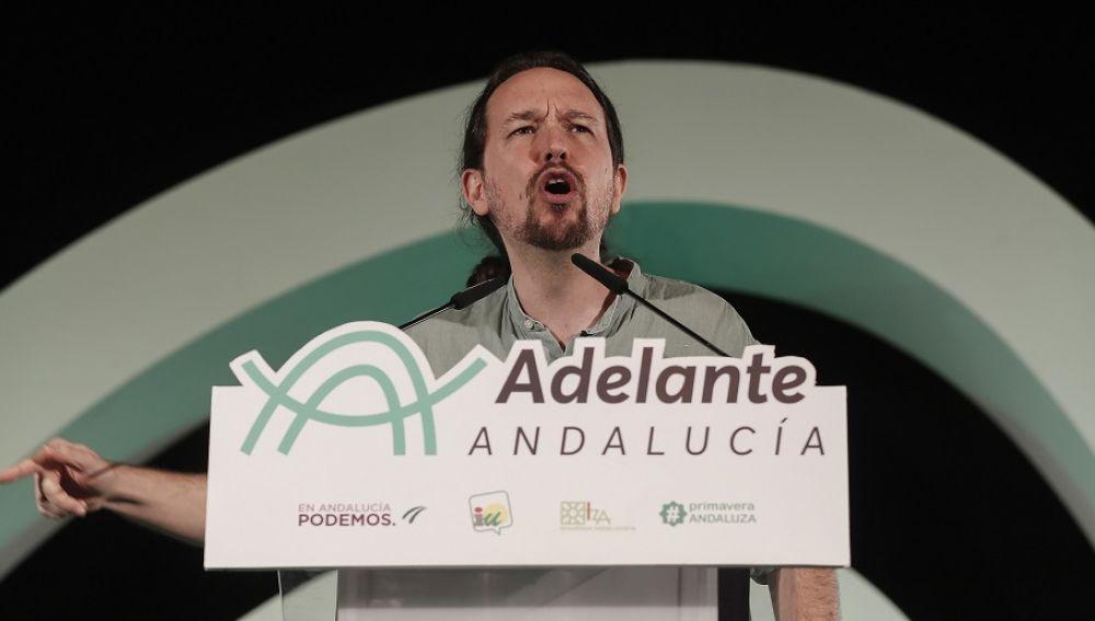 Pablo Iglesias durante un acto electoral de Adelante Andalucía