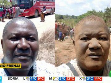 Los comentados 'selfies' de un hombre antes y después de un accidente de autobús