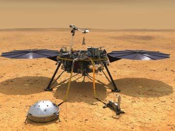 Fotografía cedida por la NASA de una ilustración que muestra una vista simulada del módulo espacial InSight
