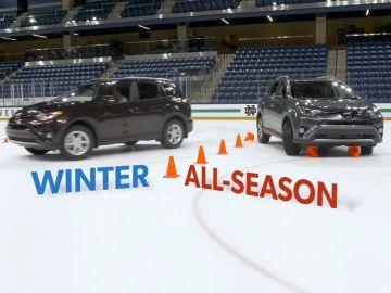 Comparativa entre neumáticos convencionales y de invierno sobre hielo