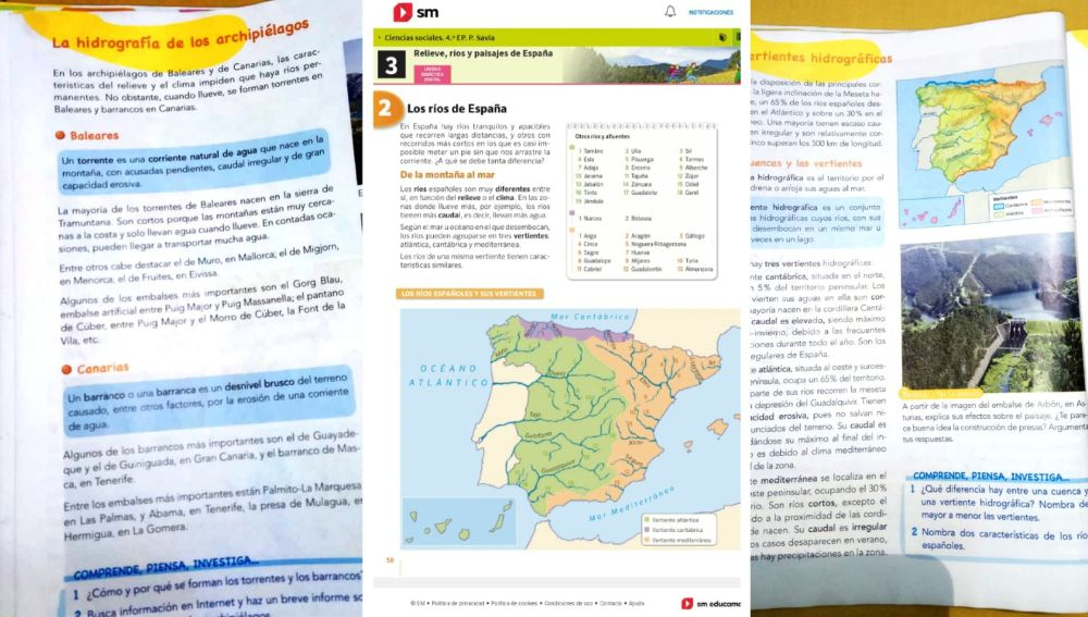 Libros de 4º y 6º de Primaria de dos editoriales utilizado durante este curso en Andalucía