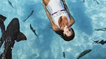 Laura Matamoros nadando entre tiburones