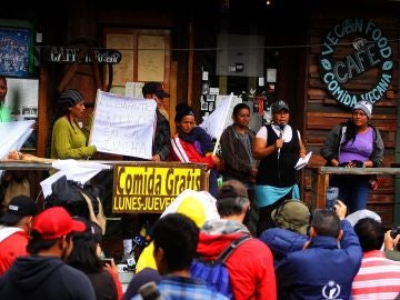La caravana migrante, apostada en la ciudad de Tijuana