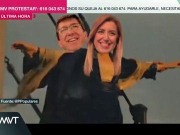 El PP pide el voto para Juanma Moreno con una parodia de Titanic protagonizada por Susana Díaz y Juan Marín