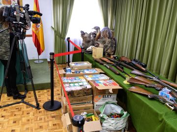 Detienen a un hombre con 14 armas, 21.000 cartuchos y cabezas de especies