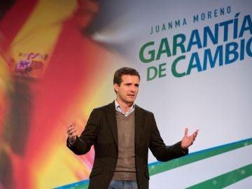 Pablo Casado durante un acto electoral