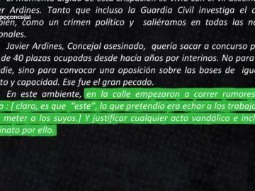 """Una carta anónima asegura que en la calle de Llanes se empezó a """"justificar"""" un posible """"asesinato"""" de Ardines por su política"""
