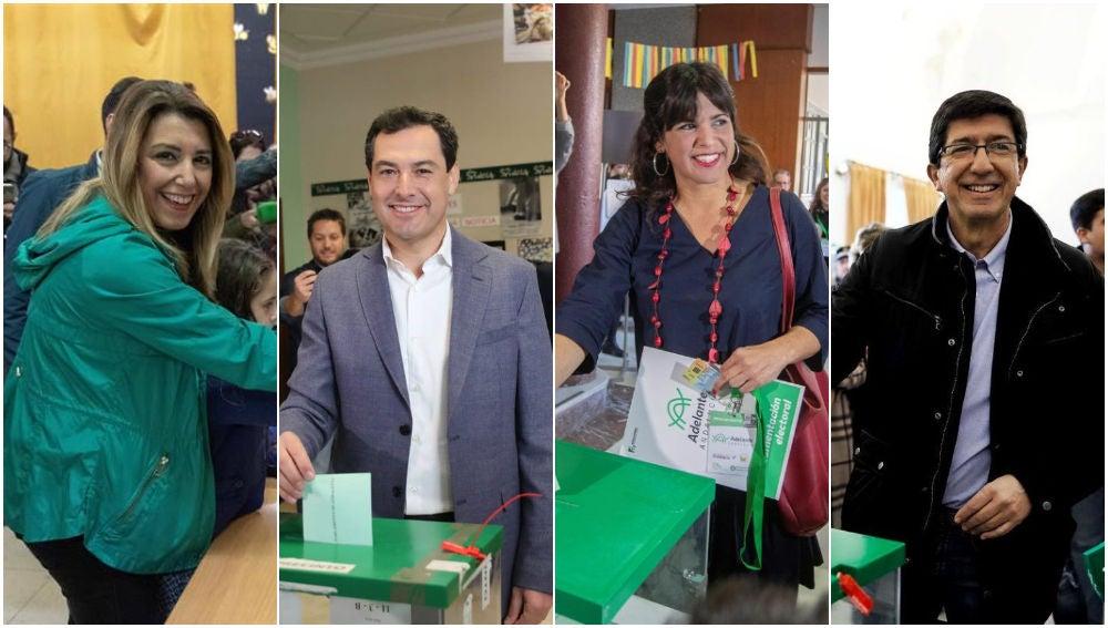 Los cuatro principales candidatos a ganar las elecciones en Andalucía