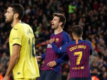 Gerard Piqué celebra el 1-0 ante el Villarreal