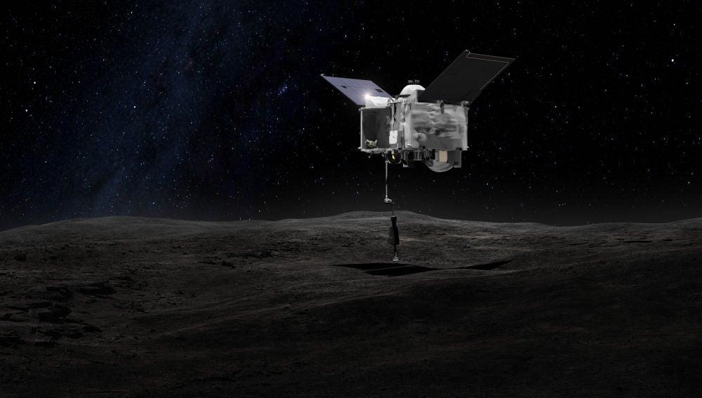 Representación artística de OSIRIS-REx tocando la superficie del asteroide Bennu para proceder con la extracción de muestras