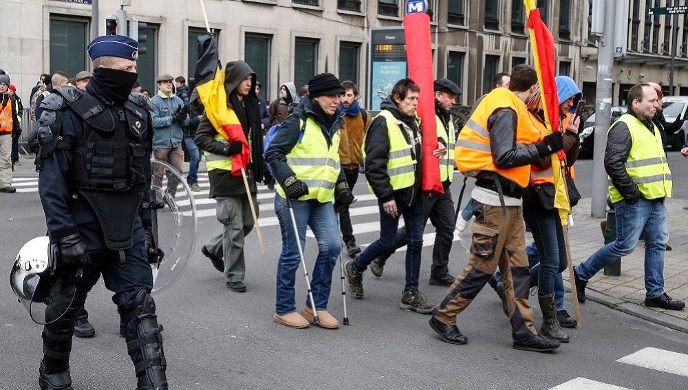 Imagen de las protestas de los 'chalecos amarillos' en Bruselas