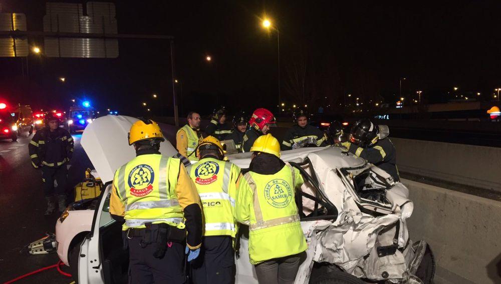 Accidente en la M-30 a la altura de Méndez Álvaro