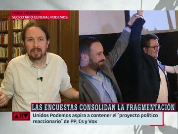 """Así define Pablo Iglesias a Santiago Abascal: """"Es un tipo que ha vivido de la teta de lo público y de la corrupta de Esperanza Aguirre"""""""