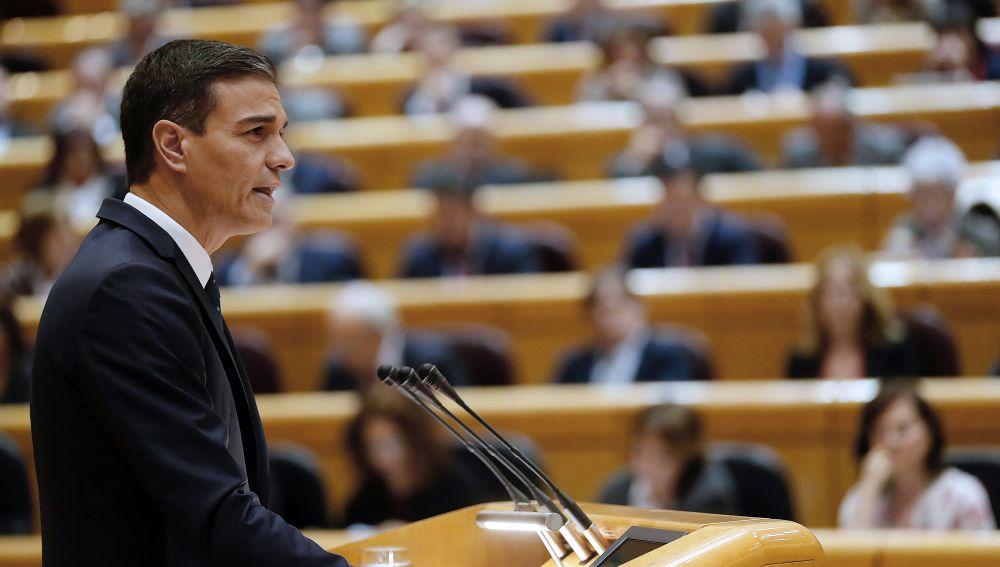 El presidente del Gobierno, Pedro Sánchez , durante su comparecencia en sesión plenaria del Senado.