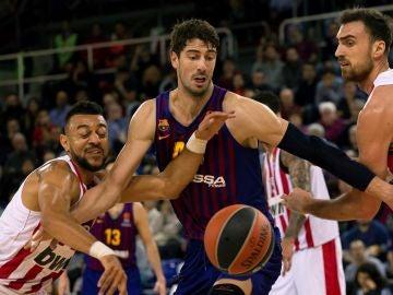 Tomic, durante el partido contra Olympiacos