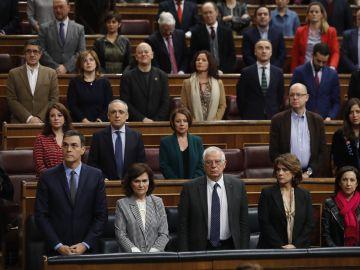 Imagen del minuto de silencio que guardó el Congreso en memoria de Laura Luelmo
