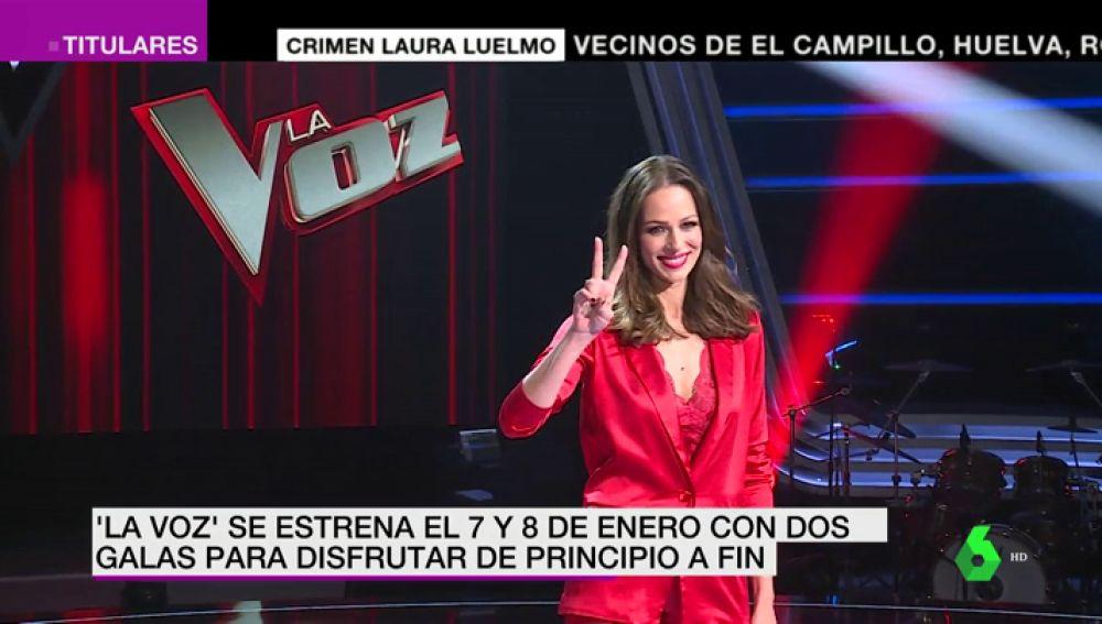 Eva González junto al logo de La Voz