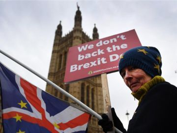 Mujer manifestándose contra el Brexit