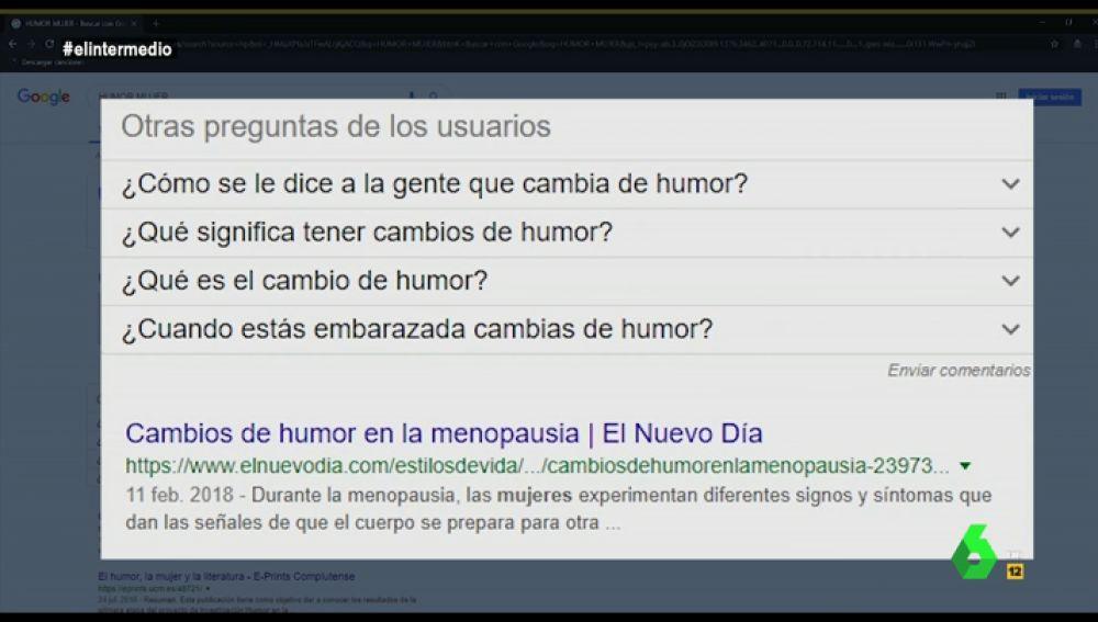 """Sugerencias de la búsqueda de Google sobre """"humor"""""""