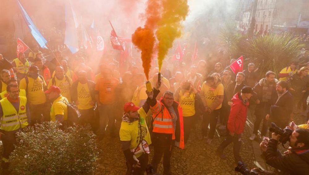 Los trabajadores de Alcoa de Asturias y Galicia, durante la movilización