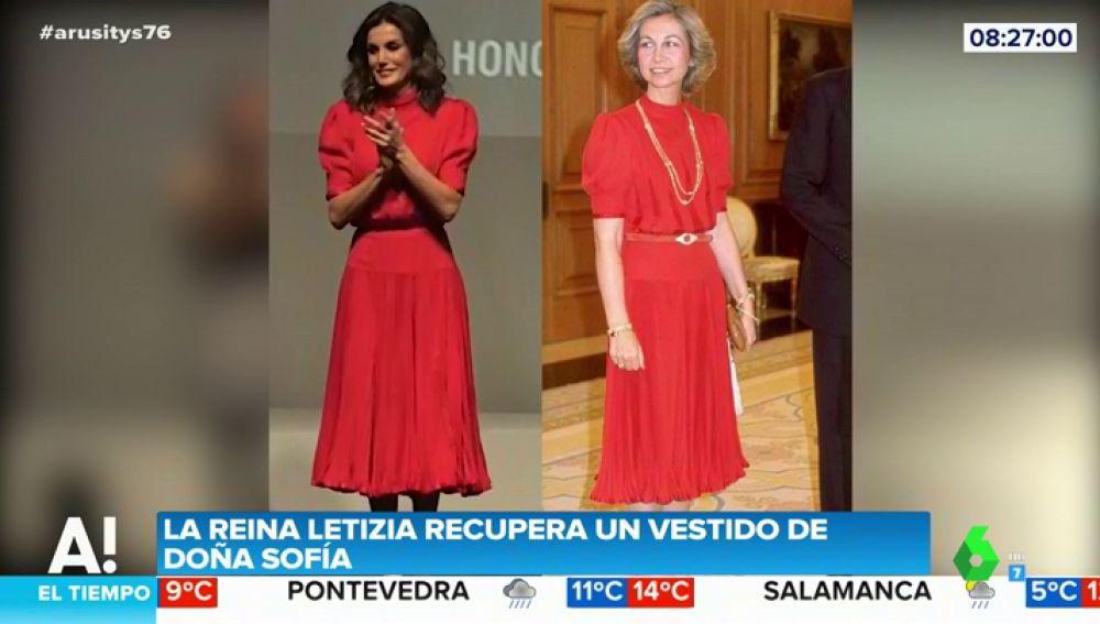 El bonito guiño de la reina Letizia a la reina Sofía al 'reciclar' el vestido que lució hace más de 30 años