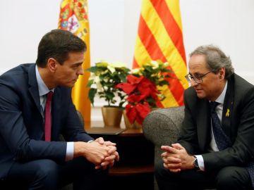 Imagen de archivo de una reunión entre Pedro Sánchez y Quim Torra