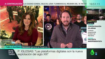 Pablo Iglesias en una entrevista con Mamen Mendizábal