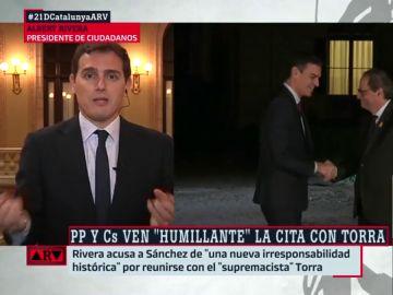 """Rivera: """"Es inaceptable que el Gobierno de España intente blanquear al separatismo que llama a la violencia"""""""