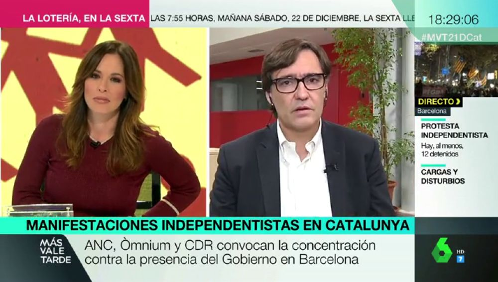 Salvador Illa y Mamen Mendizábal en una entrevista