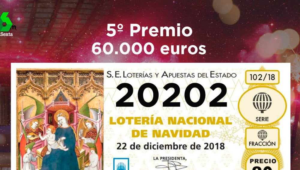 Sexto quinto premio de la Lotería de Navidad 2018