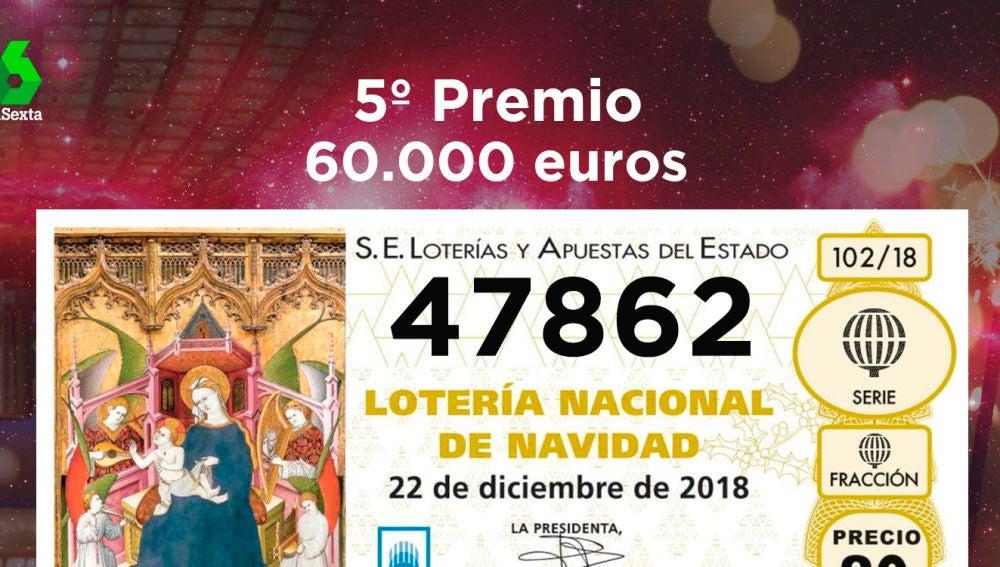 Primer quinto premio de la Lotería de Navidad 2018