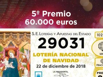 Cuarto quinto premio de la Lotería de Navidad 2018