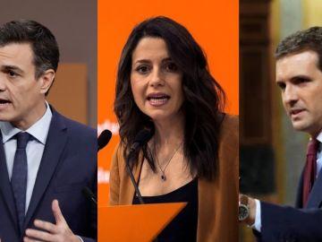Pedro Sánchez, Inés Arrimadas y Pablo Casado