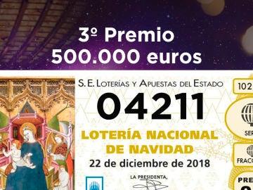 Tercer premio de la Lotería de Navidad 2018
