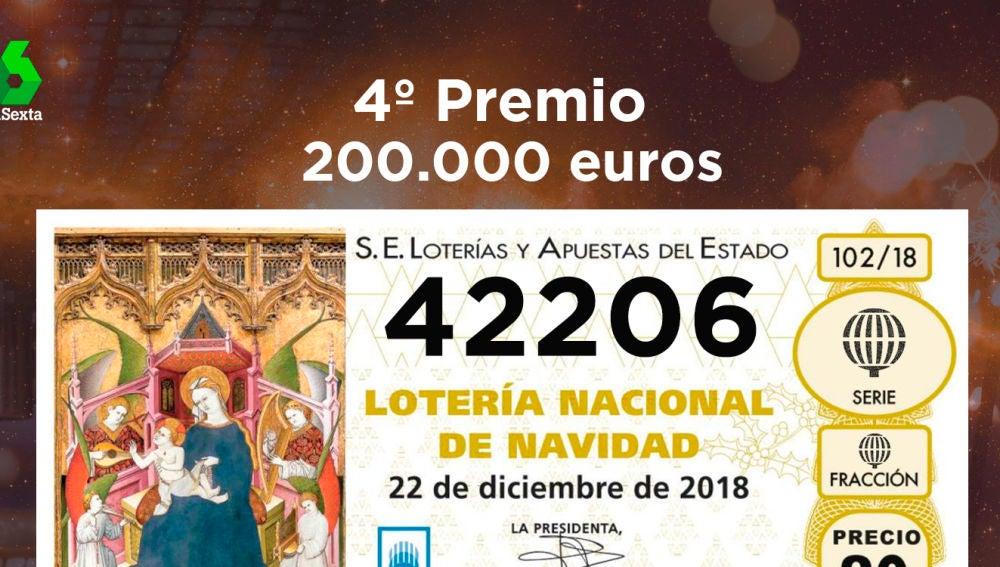 42206, primer cuarto premio del sorteo de Lotería de Navidad de 2018