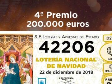 Primer cuarto premio de la Lotería de Navidad 2018