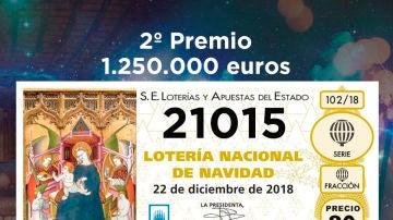 Segundo premio de la Lotería de Navidad 2018