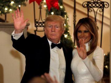 Donald Trump y Melania Trump. en la Casa Blanca.