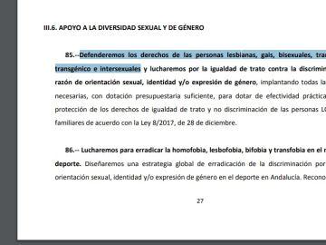 Extracto del acuerdo del PP y Ciudadanos para Andalucía