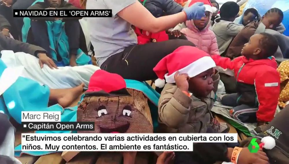 Migrantes a bordo del Open Arms