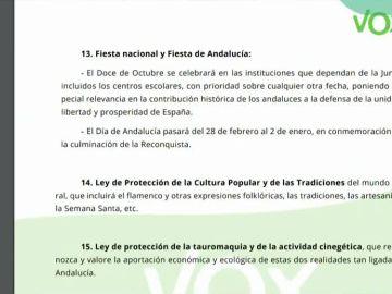 Imagen del documento con las condiciones de Vox en Andalucía