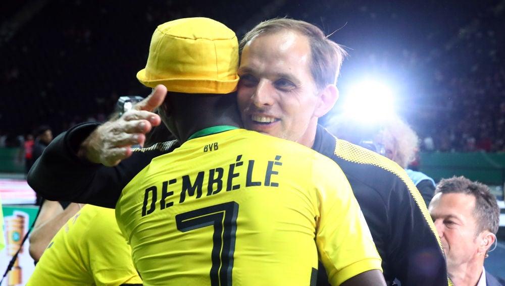 Thomas Tuchel y Dembélé, en su época en el Borussia Dortmund