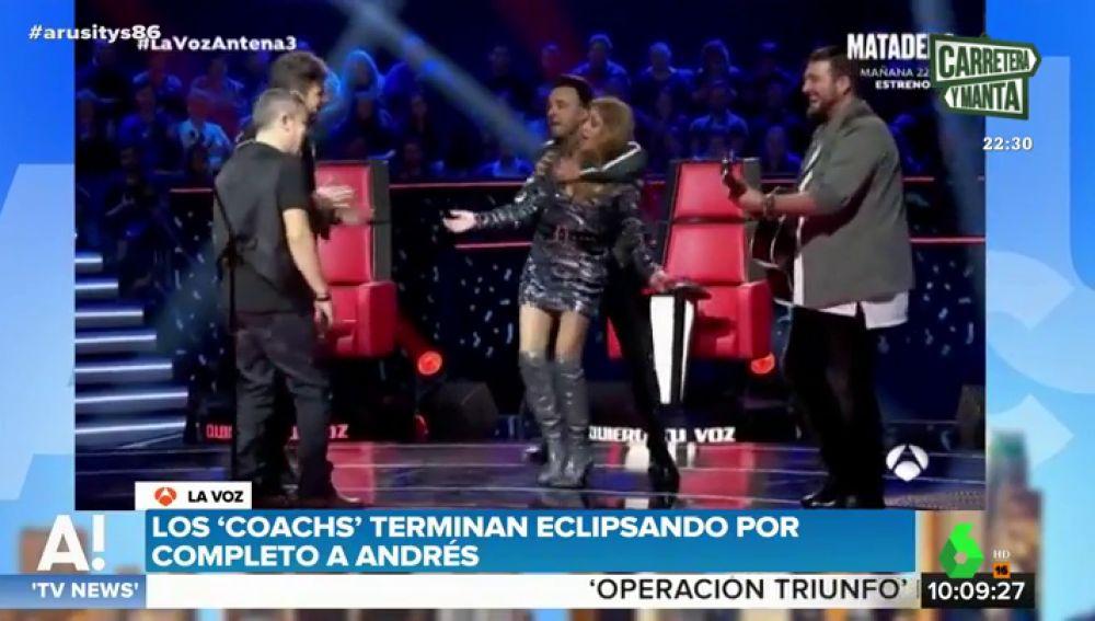 Pablo López, Luis Fonsi, Paulina Rubio y Antonio Orozco, en La Voz con un concursante