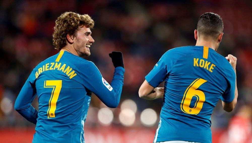 Griezmann celebra su gol en Montilivi