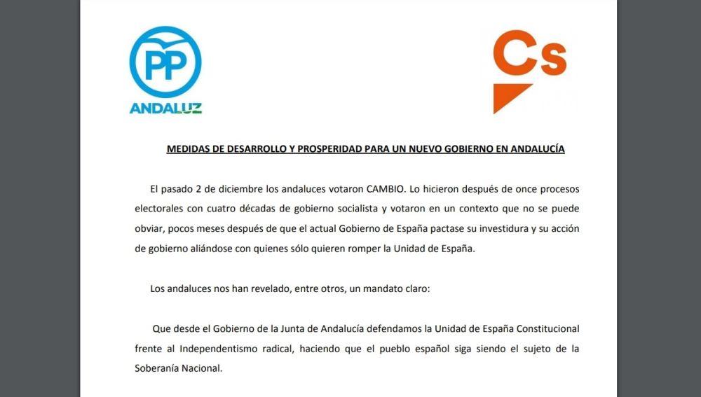 Acuerdo de PP y Ciudadanos en Andalucía