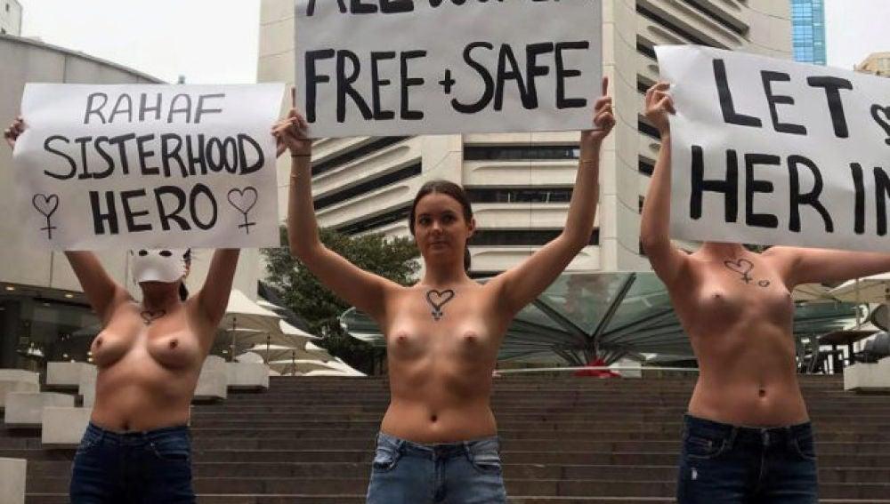 Mujeres manifestándose por la libertad de las mujeres en Sydney